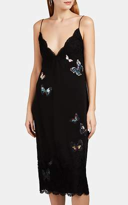 Valentino Women's Embroidered Lace-Inset Silk Slipdress - Black