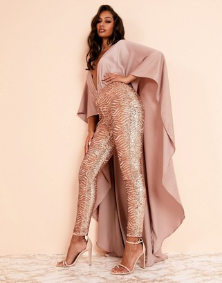 Asos DESIGN Luxe cape detail jumpsuit in rose gold sequin