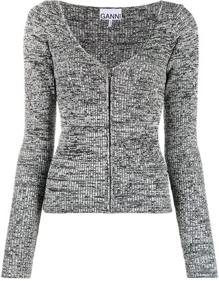 Ganni Zip-Up Knitted Cardigan