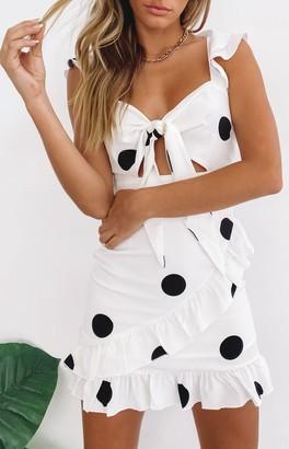 SNDYS Morocco Dress White Polka Dot