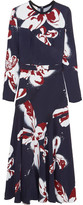Cédric Charlier Printed Crepe Maxi Dress - Midnight blue