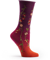 Ozone Fuchsia Tibetan Flowers Socks