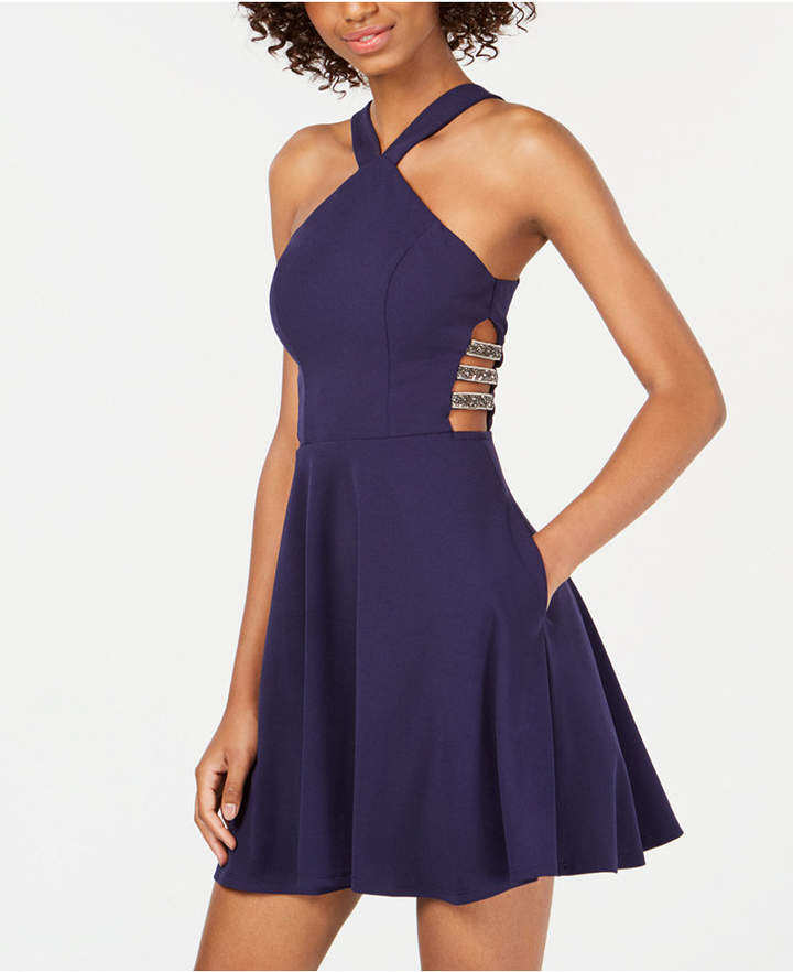 Speechless Juniors' Embellished Cutout Fit & Flare Dress