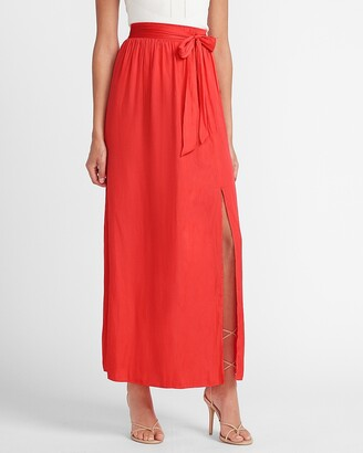 Express High Waisted Tie Front Slit Maxi Skirt