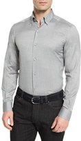 Ermenegildo Zegna Baby Flannel Long-Sleeve Sport Shirt, Gray