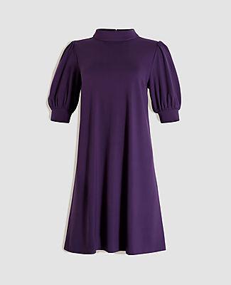 Ann Taylor Petite Puff Sleeve Mock Neck Shift Dress