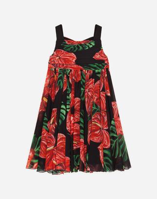 Dolce & Gabbana Midi Dress In Stretch Georgette With Laceleaf Print