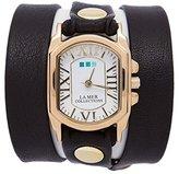 La Mer Women's LMCHATEAU1006 Black-Gold Chateau Wrap Watch