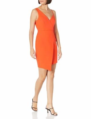 BCBGMAXAZRIA Women's V-Neck Asymmetrical Mini Dress