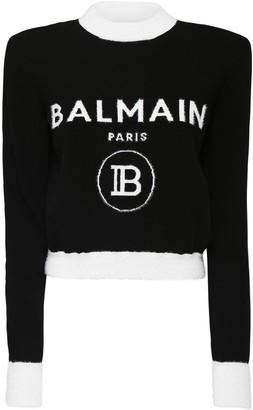 Balmain Brushed Wool Logo Knit Crop Sweater
