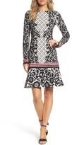 Eliza J Petite Women's Print Knit Trumpet Dress