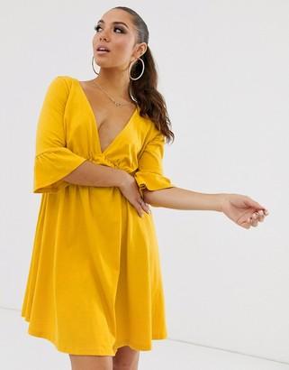 Asos Design DESIGN v neck frill sleeve smock dress-Yellow