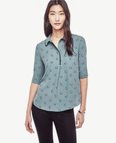 Ann Taylor Petite Bouquet Collared Mixed Media Top