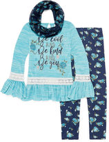Knitworks Knit Works Long Bell Sleeve Fashion Top Legging Set with Scarf- Girls' 7-16 & Plus