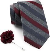 Ben Sherman Stripe Tie & Lapel Pin Box Set