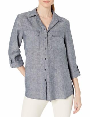 Jones New York Women's Crossdye Linen Washed Eqipment Shirt