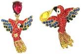 Betsey Johnson Tropical Pave Parrot Mismatch Drop Earrings Earring