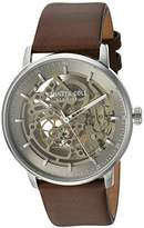Kenneth Cole New York Men's 'Auto' Automatic Stainless Steel and Leather Dress Watch, Color:Brown (Model: KC15104001)