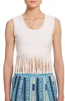 BCBGMAXAZRIA Jaleigh Fringe Cropped Top