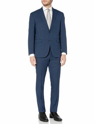 Louis Raphael Men's Slim Fit Two Button Side Vent Sharkskin Solid Suit Midnight 38 Regular