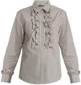 ALEXACHUNG Ruffle-trimmed striped cotton shirt