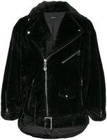 G.V.G.V. belted furry biker jacket
