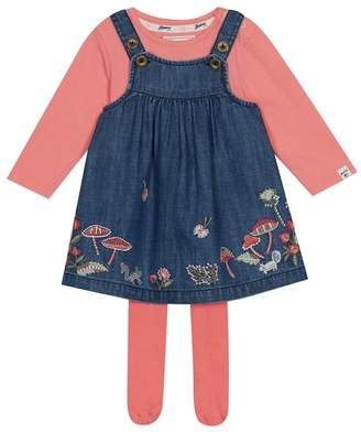 Mantaray - Baby Girls' Navy Woodland Embroidered Pinny, Top And Tights Set