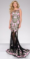 Jovani Sheer Fitted Floral Embroidered Evening Gown
