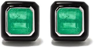 Monan 18kt White Gold Emerald Stud Earrings