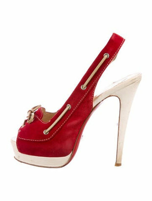 Christian Louboutin Suede Peep-Toe Slingback Pumps Red