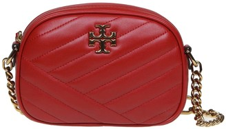 Tory Burch Shoulder Strap Kira Chevron Small In Red Leather