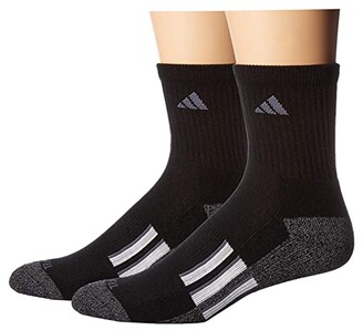 adidas Climalite(r) X II Mid-Crew Socks 2-Pack (Black/Black/Onix Marl/White/Onix) Men's Crew Cut Socks Shoes