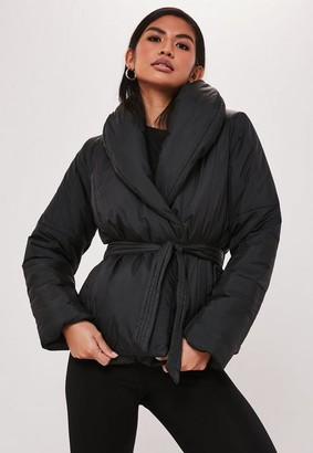 Missguided Petite Black Wrap Puffer Jacket
