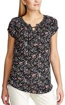 Chaps Women's Floral Lace-Up Top