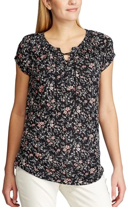 Chaps Women's Floral Lace-Up Top