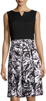 Ellen Tracy Floral-Print Fit-and-Flare Dress, Black/Ivory