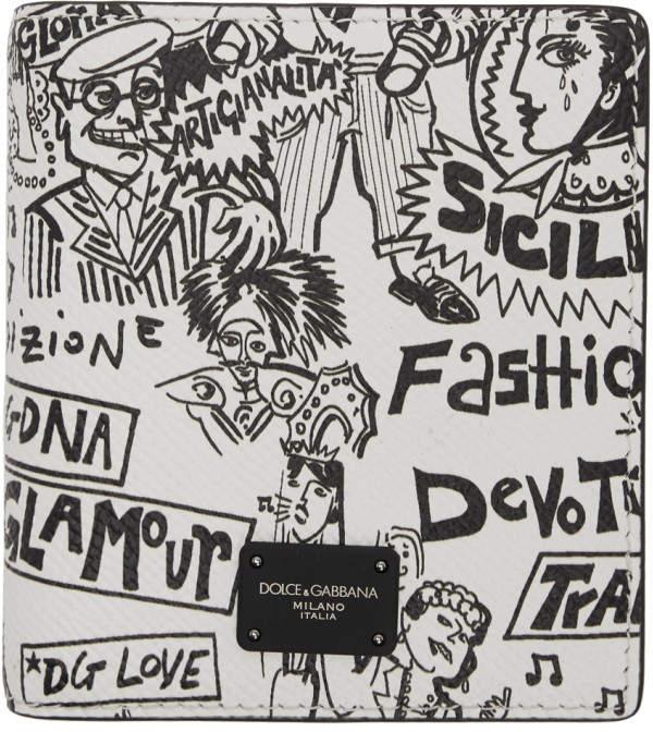 Dolce & Gabbana Black and White Graffiti Bi-Fold Wallet