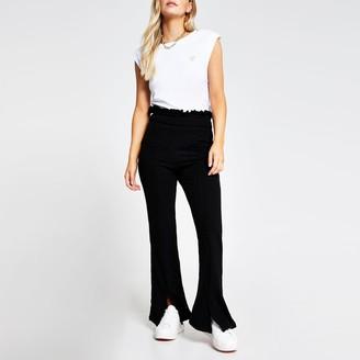 River Island Womens Petite Black frill waist rib flare trouser