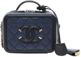 Chanel Vanity Navy Leather Handbags