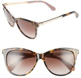 Kate Spade Women's Jizelle 55Mm Gradient Lenses Cat Eye Sunglasses - Black/ Pattern Red