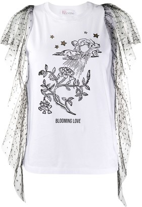 RED Valentino point d'Esprit tulle detailed T-shirt