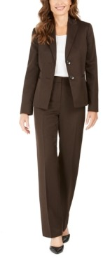 Le Suit Pinstriped Pants Suit