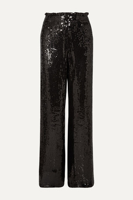 Alice + Olivia Alice Olivia - Elba Sequined Crepe Wide-leg Pants - Black