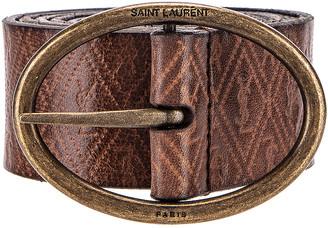 Saint Laurent Leather Belt in Natural | FWRD