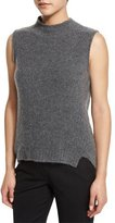 Milly Sleeveless Mock-Neck Cashmere-Blend Vest, Gray