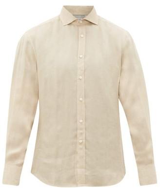 Brunello Cucinelli Cutaway-collar Linen Shirt - Beige