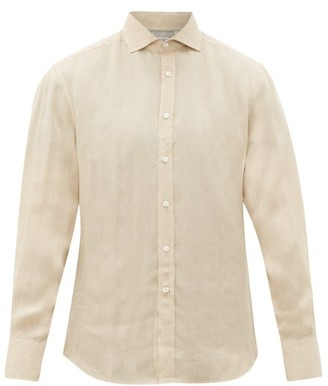 Brunello Cucinelli Cutaway-collar Linen Shirt - Mens - Beige