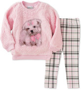 Kids Headquarters Baby Girls' 2-Pc. Faux Fur Dog Sweatshirt & Plaid Leggings Set