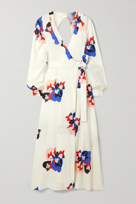 JALINE Ursula Open-back Floral-print Voile Wrap Maxi Dress - Ivory