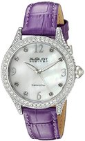 August Steiner Women's AS8188PU Silver Crystal Accented Quartz Watch with White Mother of Pearl Dial and Purple Embossed Leather Bracelet